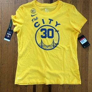 NWT women's Nike Steph Curry Warriors tee L yellow